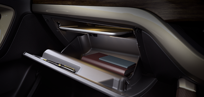 Glovebox with Laptop Tray
