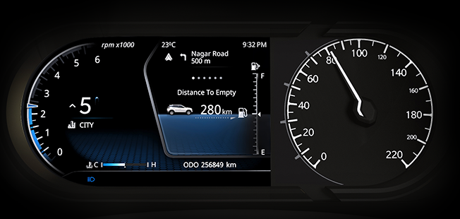 Instrument Cluster with 17.76 cm (7'') Colour TFT Display